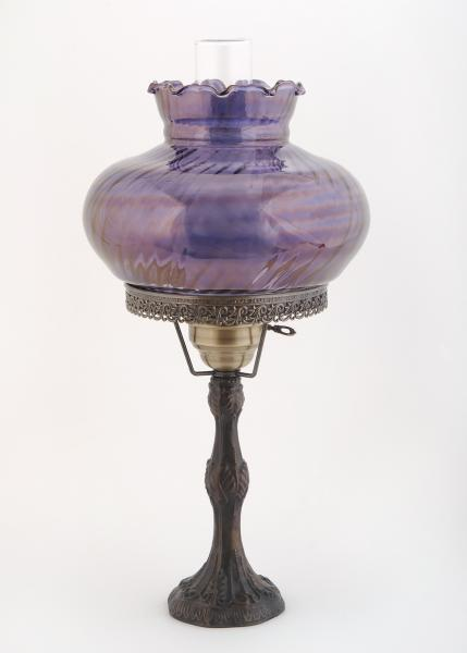"[Image: ID: 11270 LPG; Antique finish small cast lamp with 10"" swirl optic shade; 3-way. (Lo-Med-High) switch]"