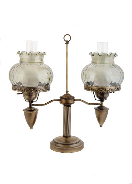 "[Image: ID: 20428 LGG; Antique finish 2 light student lamp with rhombus-optic 8"" shades; each shade has its own 3-way switch (Lo-Med-High).]"