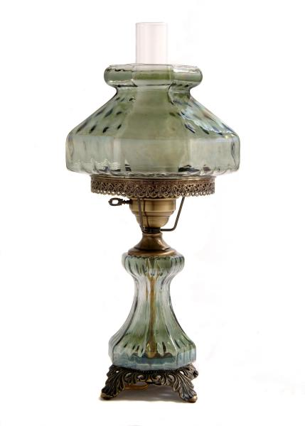 [Image: ID: 8031 LGG; Hand blown Octagon crackle glass hurricane lamp, with 11' shade, antique components and nite-lite in the base; 3- way NL (Top-Bottom- Both) switch]